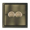 Hamilton Cheriton Georgian Antique Brass with Black Trim Dimmer Switches