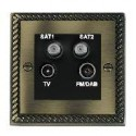 Hamilton Cheriton Georgian Antique Brass with Black Trim Television and Satellite Sockets
