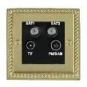 Hamilton Cheriton Georgian Polished Brass with Black Trim Television and Satellite Sockets