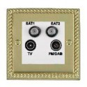Hamilton Cheriton Georgian Polished Brass with White Trim Television and Satellite Sockets