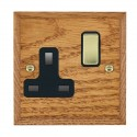 Hamilton Woods Chamfered Medium Oak with Black Trim Sockets