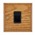 Hamilton Woods Chamfered Medium Oak with Black Trim Telephone Sockets