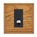 Hamilton Woods Chamfered Medium Oak with Black Trim Television and Satellite Sockets