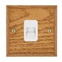Hamilton Woods Chamfered Medium Oak with White Trim Telephone Sockets