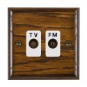 Hamilton Woods Ovolo Dark Oak with White Trim Television and Satellite Sockets