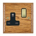 Hamilton Woods Ovolo Medium Oak with Black Trim Sockets