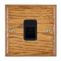 Hamilton Woods Ovolo Medium Oak with Black Trim Telephone Sockets