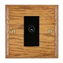 Hamilton Woods Ovolo Medium Oak with Black Trim Television and Satellite Sockets