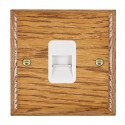 Hamilton Woods Ovolo Medium Oak with White Trim Telephone Sockets