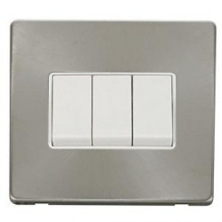 Click Definity Screwless Brushed Steel with White Inserts