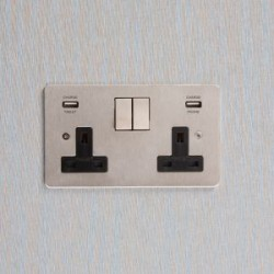Focus SB 2 Gang Integrated USB Wall Sockets