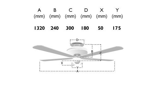 Fantasia Zeta Ceiling Fan Dimensions Key