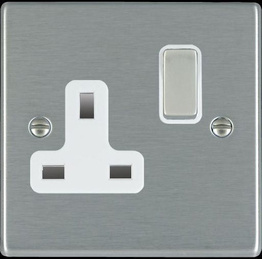 Hamilton Hartland Satin Steel 1 Gang 13A Switched Socket 74SS1SS/WH