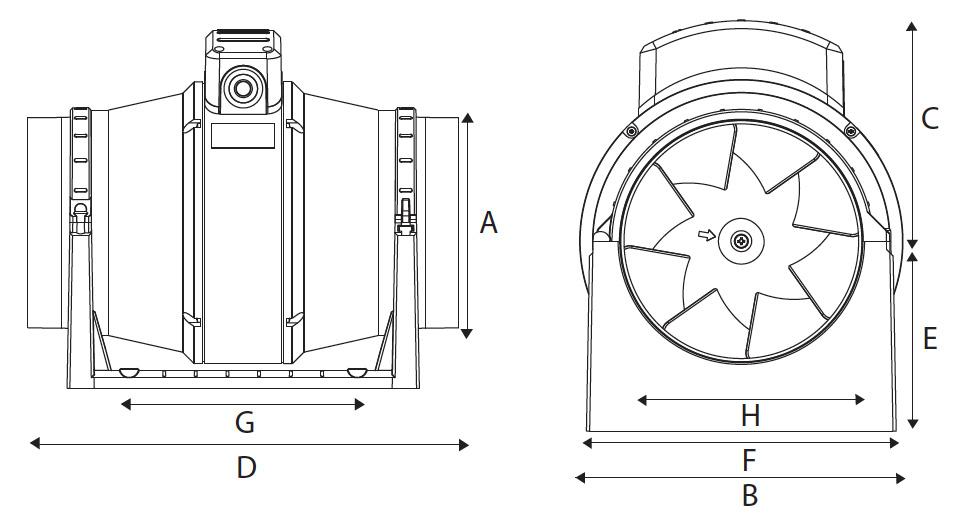 Vent-Axia ACM100-200 product dimensions