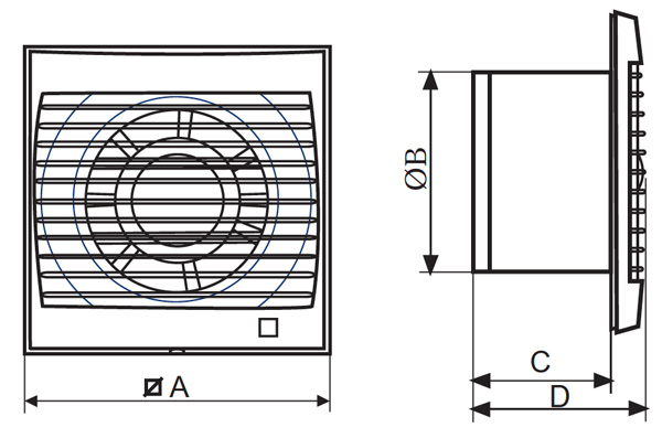 Vent-Axia Silhouette 100B Product Dimensions