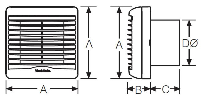 Vent-Axia VA100 product dimensions