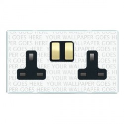 Hamilton Perception Clear 2 Gang 13A Switched Socket - Double Pole with Black Insert