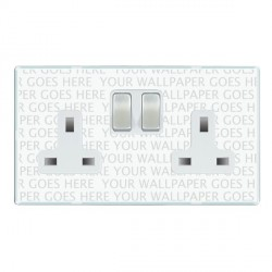 Hamilton Perception Clear 2 Gang 13A Switched Socket - Double Pole with White Insert & Satin Chrome Switches