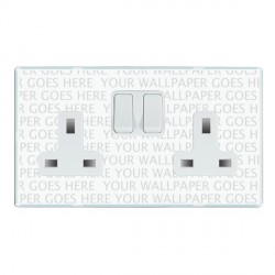 Hamilton Perception Clear 2 Gang 13A Switched Socket - Double Pole with White Insert & White Switches