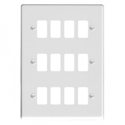 Hamilton Sheer Grid Gloss White 12 Gang Grid Fix Aperture Plate with Grid