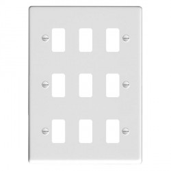 Hamilton Sheer Grid Gloss White 9 Gang Grid Fix Aperture Plate with Grid