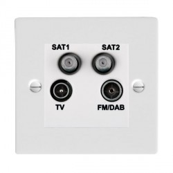 Hamilton Sheer Gloss White TV+FM+SAT+SAT (DAB Compatible) with White Insert