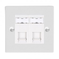 Hamilton Sheer Gloss White 2 Gang RJ45 Outlet Cat 5e Unshielded with White Insert