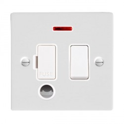 Hamilton Sheer Gloss White 1 Gang 13A Fused Spur, Double Pole + Neon + Cable Outlet with White Insert