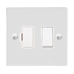 Hamilton Sheer Gloss White 1 Gang 13A Fused Spur, Double Pole with White Insert