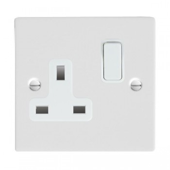 Hamilton Sheer Gloss White 1 Gang 13A Switched Socket - Double Pole with White Insert