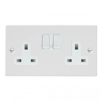 Hamilton Sheer Gloss White 2 Gang 13A Switched Socket - Double Pole with White Insert