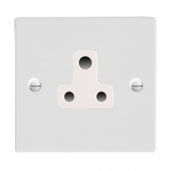 Hamilton Sheer Gloss White 1 Gang 5A Unswitched Socket with White Insert