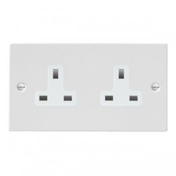 Hamilton Sheer Gloss White 2 Gang 13A Unswitched Socket with White Insert