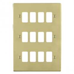 Hamilton Sheer Grid Polished Brass 12 Gang Grid Fix Aperture Plate with Grid