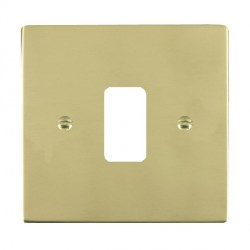 Hamilton Sheer Grid Polished Brass 1 Gang Grid Fix Aperture Plate with Grid