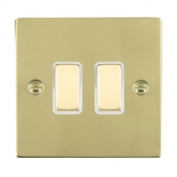 Hamilton Sheer Polished Brass 2 Gang Multi way Touch Slave Trailing Edge with White Insert