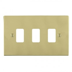 Hamilton Sheer Grid Polished Brass 3 Gang Grid Fix Aperture Plate with Grid