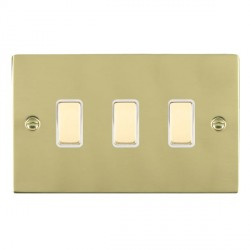 Hamilton Sheer Polished Brass 3 Gang Multi way Touch Slave Trailing Edge with White Insert