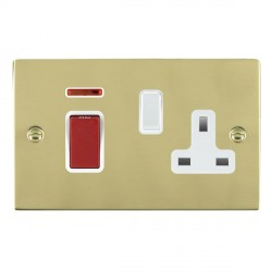 Hamilton Sheer Polished Brass 1 Gang Double Pole 45A Red Rocker + 13A Switched Socket with White Insert