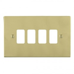 Hamilton Sheer Grid Polished Brass 4 Gang Grid Fix Aperture Plate with Grid