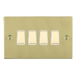Hamilton Sheer Polished Brass 4 Gang Multi way Touch Slave Trailing Edge with White Insert