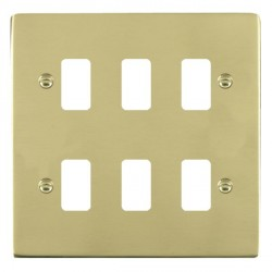 Hamilton Sheer Grid Polished Brass 6 Gang Grid Fix Aperture Plate with Grid