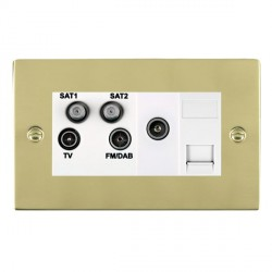 Hamilton Sheer Polished Brass TV+FM+SAT+SAT+TV+TCS (DAB Compatible) with White Insert