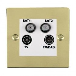 Hamilton Sheer Polished Brass TV+FM+SAT+SAT (DAB Compatible) with White Insert