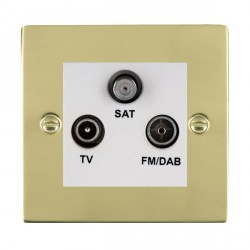 Hamilton Sheer Polished Brass TV+FM+SAT (DAB Compatible) with White Insert