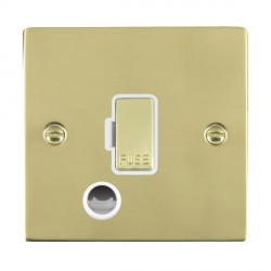 Hamilton Sheer Polished Brass 1 Gang 13A Fuse + Cable Outlet with White Insert