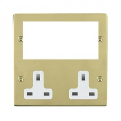 Hamilton Sheer Media Plates Polished Brass Media Plate containing 2 Gang 13A Unswitched Socket + EURO4 aperture with White Insert