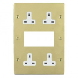 Hamilton Sheer Polished Brass Media Plate containing 2 Gang 13A Unswitched Socket, 2 Gang 13A Unswitched Socket, EURO4 aperture with White Insert