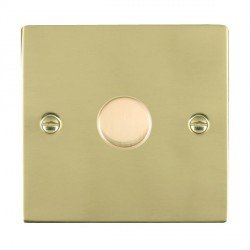 Hamilton Sheer Polished Brass Push On/Off Dimmer 1 Gang Multi-way 250W/VA Trailing Edge with Polished Brass Insert