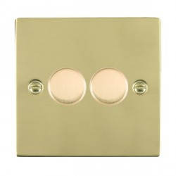 Hamilton Sheer Polished Brass Push On/Off 200VA Dimmer 2 Gang 2 way Inductive with Polished Brass Insert
